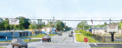 ARTIST'S RENDERING shows Freeport Street and surrounding properties after completion of the reconstruction. Freeport will be three lanes, from I-10 to Holly Park, with curbs, sidewalks, and extensive new drainage lines.