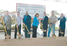 A ceremonial groundbreaking took place on Wednesday, Nov. 6th at the Grayson Community Center. Pct. 2 Commissioner Jack Morman was on hand, 3rd from right, as well as contractors, engineers, and Rotary President Matt Davis, and Chamber representatives Wilfred Broussard, Jr. and Margie Buentello.