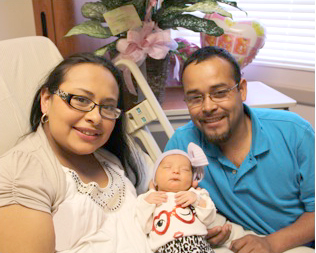 Baby Delaila Sandoval maker her debut on New Year's day at East Houston Regional Medical Center with her mother, Jessica Parga and father, Gerardo Sandoval.