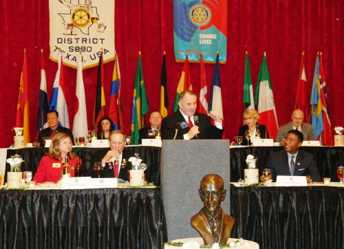 HIGHLANDS ROTARY CLUB was well represented at the Rotary District 5890 All-Club Banquet, held at the Crowne Plaza Hotel ballroom at Reliant Center. Attending in the photo were Denise and Jerry Smith, Andy and Tricia Scott, Raymond Gonzalez, Weston Cotten, and Gilbert and Mei (let me take the picture) Hoffman. They were joined by an outgoing exchange student from Willowridge HS, who will spend the summer in Brazil as a Rotary ambassador.