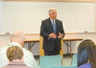 CONGRESSMAN GENE GREEN talks about Congressional bills that have recently been enacted, and legislation such as the Affordable Care Act, that affect local citizens. (NORTH CHANNEL STAR PHOTO/HOFFMAN)