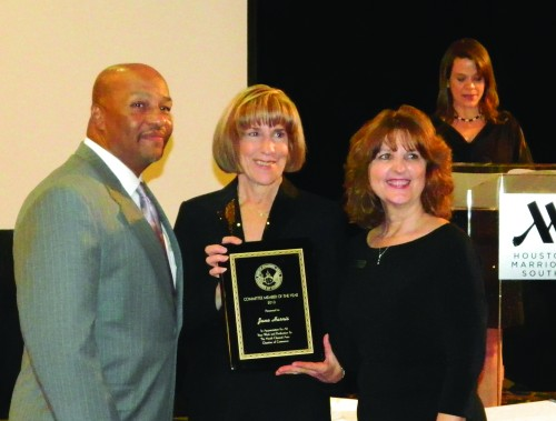 JUNE HARRIS, center, receives an award as the Chamber Foundation president, at the North Channel Chamber Gala on Jan. 25.