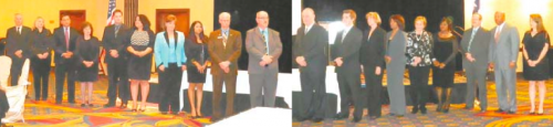 NEW NORTH CHANNEL CHAMBER BOARD MEMBERS FOR 2014 are sworn in at the 37th Annual Gala. These include (alphabetically) Alice Adams, Garrett Alexander, Janet Allen, Marlene Clowers, Pedro Garcia, Christie Gates, Arodi Gonzalez, Dr. Allatia Harris, Dale Jones, John Moore, Bill Palko, Larry Pfeifer, Jim Wadzinski, and Mike Williams. NEW OFFICERS are Greg Ollis, chairman; Kimberly Gonzales, Chair elect; Lucia Bates, 1st vice chair; Adam Lund, Treasurer; Shalonda Dawkins, Secretary; Wilfred Broussard, Jr. Past chair; and June Harris, Foundation chair.