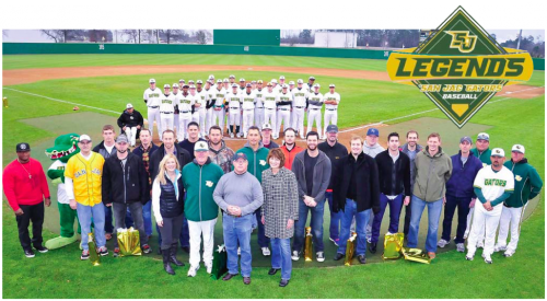 LEGENDS GROUP photo cutline: A highlight from this past weekend's Tournament of Champions at San Jacinto College was the Legends Ceremony, during which former San Jacinto College players who went on to play professionally, as well as those who excelled as college players, were honored for their contributions to the San Jac baseball program. Shown at the ceremony, from left (front row): Ruth Keenan, San Jacinto College Foundation executive director; Head Baseball Coach Tom Arrington; Dan Mims, San Jacinto College Board of Trustees chairman; and San Jacinto College Chancellor Dr. Brenda Hellyer; (second row): Carey Nelson; Ali Gator (team mascot); Rocky Luetge (representing his son Lucas Luetge); David Rollins; Jesse Crain; Russell Revere; Ryan Jorgensen); Tommy Collier; Brandon Hicks; Andy Pettitte; Tanner Hines; Collin Lippert; Brandon Belt; Justin O'Bannon; Matt Albers; Daniel Stumpf; Robert Manuel; Matt Headly; Jarred Wells; Chris Kelley; assistant coaches Kory Koehler, DJ Wilson, and Jimmy Durham. The San Jacinto College 2014 baseball team is shown on the field behind the group. Photo credit: Rob Vanya, San Jacinto College marketing, public relations, and government affairs department.