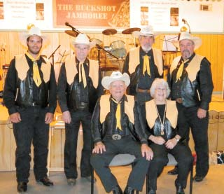 BUCKSHOT JAMBOREE BAND: SEATED, Buck Sloan and Shirley Sloan; STANDING, Kaleb Jordan, Dusty Stewart, Jerry Orvis, and Royce Mel- ton. This group of old-timers will put a smile on your face, and heart, and your foot will be tapping all night!