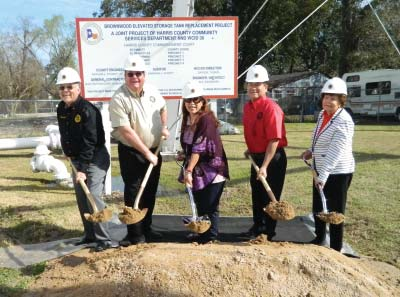 Board members of HCWCID#36 break ground, symbolically, for the new Elevated Storage Tank. Pictured left to right, Gerardo Leal, Ronald Holder, Maria Koukoulakis, Gerardo Parra (president), and Ola Mae Watts. Water District Manager is Billie Vasquez.