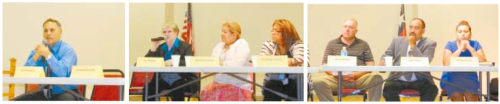 CITY COUNCIL CANDIDATES: (L to R): Position #1 Water & Sewer: Joe DeLaTorre; Position #2 Police & Fire: Lois Killough; Position #3 Parks & Recreation: Maricela Serna, Veronica Garcia; Position #4 Street & Bridge: Mark Groba, Juan Flores, Martha Flores.