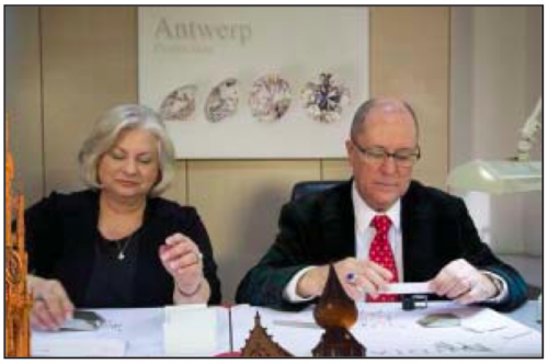Jim Mills and his wife Linda select diamonds at Antwerp, Belgium before bringing them to Pineforest Jewelry.
