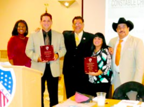 ROASTED & TOASTED were Chris Diaz and Ana Diaz, holding the plaques. At left, Mistress of Ceremonies Sharron Melton, LULAC #4703 President & Founder Cruz Hinojosa, Jr., and LULAC VP Raul Rodriguez.