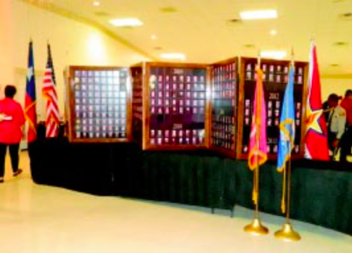 THE VETERANS EXPO included this Texas Wall of Honor, depicting all those servicemen who have lost their lives in various wars over the years. The display was prepared and shown by Carson George, who lost a son in the Gulf War. This is his tribute to all veterans.