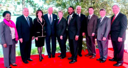 Officials present at the Houston Ship Channel 100 years Celebartion were Congresswoman Sheila Jackson Lee, Congresman Gene Green, Port Commission Chairman Janiece Longoria, Mayor Annise Parker, Congressman Al Green, Commissioner Jack Morman and Judge Ed Emmett with Port officials.