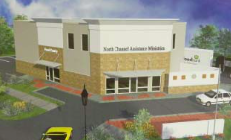 A NEW BUILDING for the North Channel Assistance Ministries will combing services of the Food Pantry with two other organizations, Betty's Haven and Steps Counseling. The building will be at the current site, on Freeport Street in Cloverleaf.