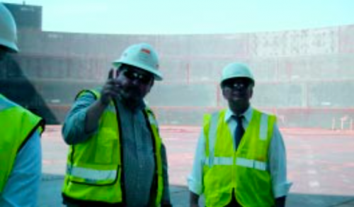 Congressman Green inspects the construction of a storage tank. The project is expected to have initial storage capacity for 700,000 barrels of crude oil.