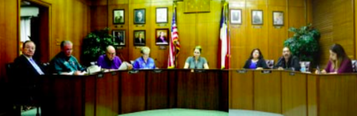 CITY COUNCIL met twice in the last week, to consider 22 Charter Amendments, and to conduct the City's business in an orderly manner. Note the portrait of Mayor Moya now hangs on the wall with others.