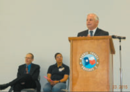 Congressman Gene Green hosted the annual Senior Town Hall, and addressed with audience with updates on legislation affecting them. Government officials, seated, also answered questions.