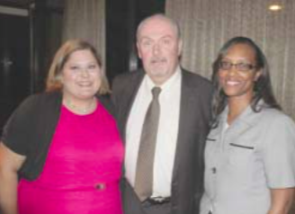 Channelview ISD Superintendent Greg Ollis congratulates Elementary Teacher of the Year Amanda Montemayor and Secondary Teacher of the Year Priscilla Jones on their recent honors at the Teacher of the Year Banquet. Montemayor is a Kindergarten teacher at De Zavala Elementary and Jones is an Algebra teacher at Kolarik Ninth Grade Center.