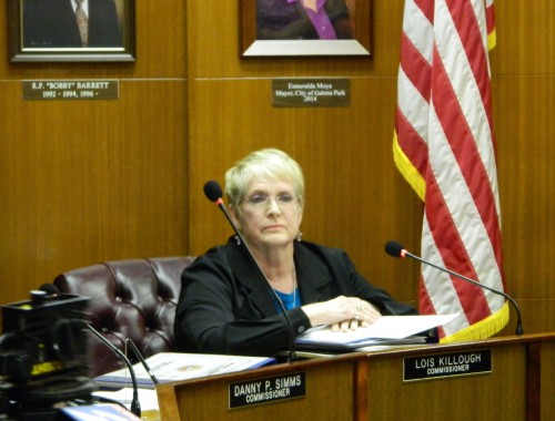 "GALENA PARK CITY COUNCILWOMAN LOIS KILLOUGH finishes her statement to the public on her resignation from the City Commission, or Council, and the reasons why she feels that she cannot continue to serve the public properly in the ""circus"" atmosphere created by Mayor Moya."