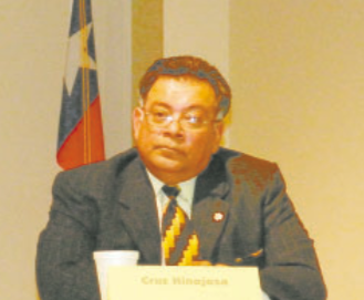 CRUZ HINOJOSA is president of the local Lulac chapter, and now will be sworn in as the new Councilman for the City of Galena Park, replacing Lois Killough who resigned last week as a protest to the way Mayor Moya conducted meetings and tried to run the city. Hinojosa was a candidate for Mayor in the May 2014 election, as seen in this photo from the Candidates Forum.