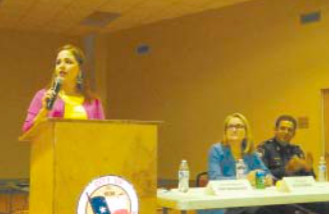 STATE REPRESENTATIVE ANA HERNANDEZ led a presentation on recent Legislative actions, along with State Senator Sylvia Garcia and Pct. 2 Constable Chris Diaz. (NORTH CHANNEL STAR PHOTO/Hoffman)