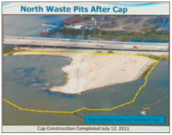 Waste Pits under this containment cap are no more dangerous to the Public's health, than if an attempt is made to excavate and remove the toxic waste, according to the new report by the US Army Corps of Engineers.