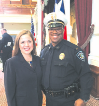 Rep. Hernandez Congratulates Jacinto City Police Dept. Lieutenant on Award from the Governor. (Submitted photo by Matthew Hall)