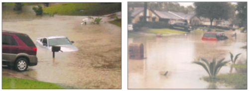 LEFT: 40 homes, and cars were under water in the Channelview area, according to the Harris County Office of Emergency Management. RIGHT: Homes in some neighborhoods were completely flooded, as were streets and cars. Frontage roads along I-10 East were closed by authorities most of Saturday.