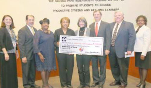 (L-R)Brandi Couch, GPHS Academic Advisor; Tony Gardea, GPHS Principal; Linda Sherrard, GPISD Education Foundation Secretary; Wanda Heath Johnson, GPISD Trustee; Louise Glenn, Larry Glenn, Hugh McCulley, and Dr. Angi Williams, GPISD Superintendent of Schools.