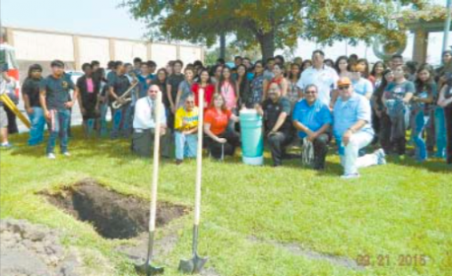 PARTICIPATING IN THE TIME CAPSULE CEREMONY last Monday, in front of City Hall, were the Galena Park High band, principal Juan Ramirez, Mayor Moya, Councilmen Juan Flores, Danny Simms, Cruz Hinojosa, and Ernesto Paredes. The Time Capsule is the blue pipe at center.