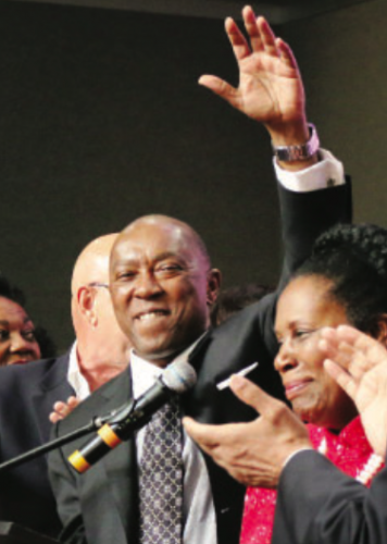 Sylvester Turner gives a Victory Wave to his supporters last Saturday night at the George R. Brown Convention Center. (NORTHCHANNEL STAR PHOTOS/SPECIAL/BY ALLAN JAMAIL)
