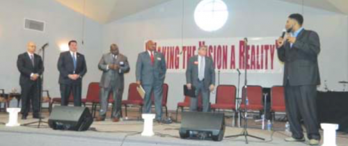 "Five of the Candidates for the Pct. 3 Constable position are seen on stage at the North Shore Community Fellowship of Faith church, last Saturday afternoon. From left, Michel Pappillion, Ken Melancon, James Stewart, Sherman Eagleton, and Bill Norman listen to a question from the Pastor, Robert Dixon II. Not present at the forum were Jasen Rabalais, David ""Bubba"" Jones, Isaac Villarreal, and Eric Reed."
