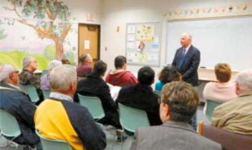 CONGRESSMAN GENE GREEN met with the public last Thursday night, in the community room of the North Shore Branch Library. He reported on legislation in Congress, and answered questions on local issues.