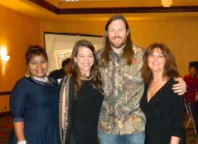 Speaker GRANT TAYLOR of TV's Buck Commander, with new Chamber chairman Lucia Bates, outgoing chairman Kim Gonzalez, and Chamber president Margie Buentello.
