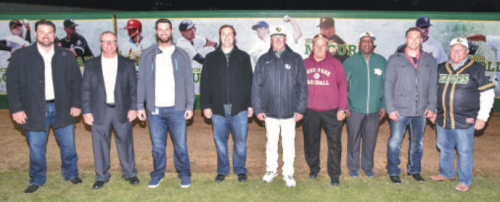 People attending the San Jacinto College baseball Legends ceremony included, from left, Nick Stavinoha (Sugar Land Skeeters), Rusty Pendergrass (MLB scout), Brandon Belt (San Francisco Giants), Matt Albers (Chicago White Sox), San Jacinto College Head Coach Tom Arrington, Chris Rupp (Deer Park High School Head Coach), Donald Wright (owner of Just Wright Sports), David Rollins (Seattle Mariners), and Larry Wilson (San Jacinto College Board of Trustees Vice Chairman). (PHOTO BY ROB VANYA / SAN JACINTO COLLEGE)