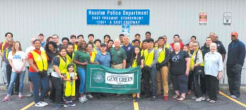 Volunteers and Rep. Green gatheredat the Houston Police Department storefront on the East Freeway to begin planting and cleaning the North Channel area on Saturday, April 9, 2016.