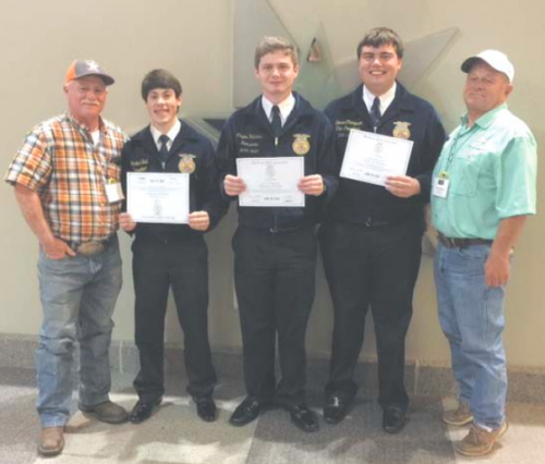 Four members of the Channelview FFA received their Lone Star Degree at the Texas FFA Convention. The Lone Star Degree is the highest level of membership awarded by the state association. Degree recipients, wearing their FFA jackets, from left, are Hunter Bell, Clayton Hutchins and Trever Thompson. Not pictured is the fourth honoree, Yvette Leos. Channelview FFA sponsors, at far left and right, are Wesley Hutchins and Dominic Mazoch.
