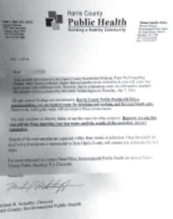 This letter was sent to 24 households in Channelview and Highlands, advising them not to drink or cook with their well water until further tests could be conducted.