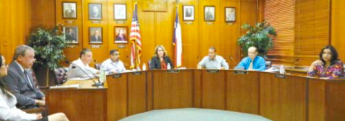 GALENA PARK CITY COUNCIL MEETING last Tuesday night. L to R, Attorney John Hightower, Councilmen Rodney Chersky and Oscar Silva Jr., Mayor Esmeralda Moya, Councilmen Eric Broussard and Barry Ponder, and City Secretary Mayra Gonzales.