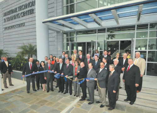 A large number of local and State Representatives as well as San Jacinto College officials gathered outside the new Maritime Technology and Training Center on the Maritime Campus in La Porte, Texas on March 8, 2016 for the Center's ribbon cutting. (Photo by Jeannie Peng-Armao/San Jacinto College)