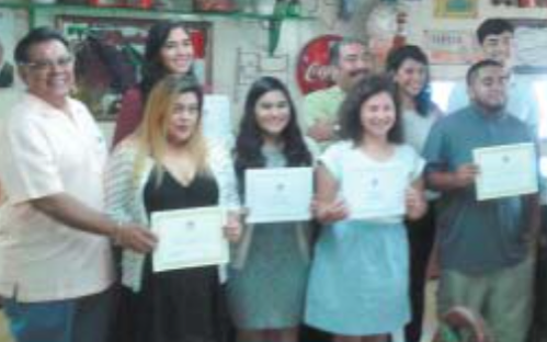 Galena Park LULAC Council 4703 recently held its 15th Annual Scholarship Awards Dinner at Don Chile' Mexican restaurant. They have donated over $100,000 in scholarships since 2001. In the photo are Cruz R. Hinojosa, Jr., LULAC President, Scholarship recipients Amanda Alvarado, Naydelin Cruz, Elizabeth Rangel, Oscar Teran, Louis Cortez III, Natalia Vasquez, Veronica Gonzalez and Juan Flores, LULAC Scholarship Chair.