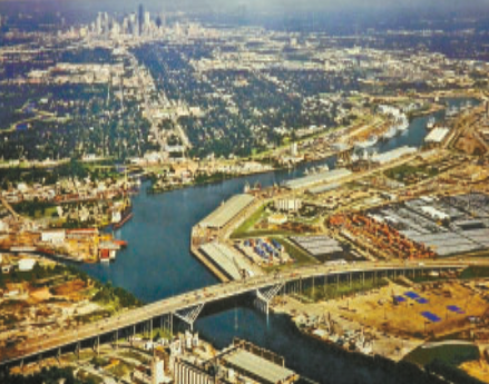AERIAL VIEW OF THE SHIP CHANNEL, AS IT APPROACHES THE I-610 EAST BRIDGE.