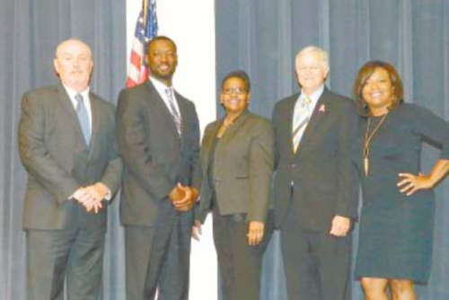 SPEAKERS at the North Channel Chamber luncheon last week were Greg Ollis, Channelview ISD superintendent; King Davis, Sheldon ISD superintendent; Angi Williams, Galena Park ISD superintendent; Charles Grant, former president of the Chamber, and Shalonda Dawkins, 1st vice chair of the Chamber.